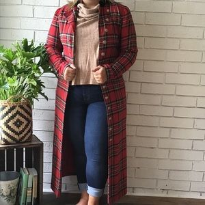 Red Tartan Long Sleeve Button Up Duster Jacket